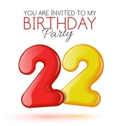 Invitation card for the celebration of 22 years vector image
