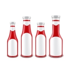 Red Tomato Ketchup Bottles of different Shapes vector image