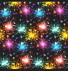 seamless texture with festive fireworks of hearts vector image vector image
