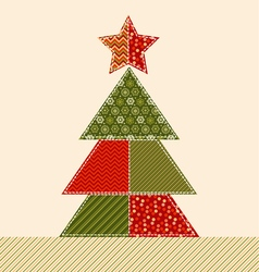 traditional ornament patchwork xmas tree cosy vector image vector image