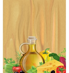 Vegetables olive oil wood vector image vector image
