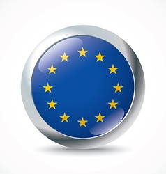 European Union flag button vector image vector image