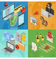 Internet Security Isometric square Banners vector image vector image