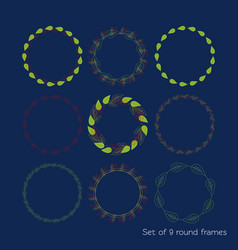 set of 9 round of the autumn part of the colorful vector image vector image
