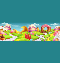 sweet landscape panorama 3d background vector image vector image
