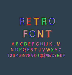 3d oblique retro font vector