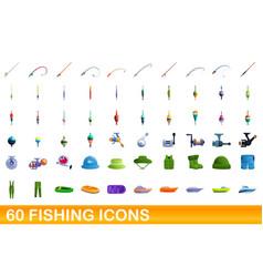 60 fishing icons set cartoon style vector image