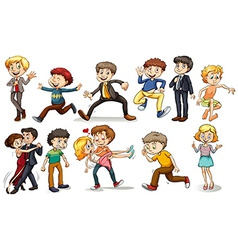A group of people doing different activities vector image