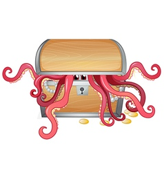 A treasure box with an octopus inside vector