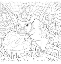 Adult coloring bookpage a cute pig wearing a hat vector