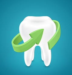All around protected human teeth on blue vector