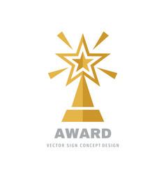 award winner prize cup logo design star rating vector image