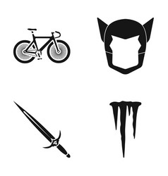 Bicycle mask and other web icon in black style vector