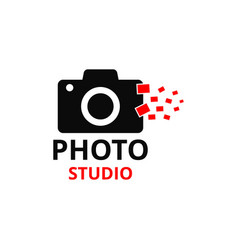 black and red icon for photographer vector image