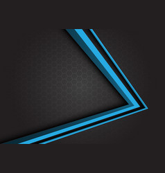 blue arrow 3d direction on gray hexagon mesh vector image
