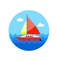Boat with a sail icon summer vacation vector