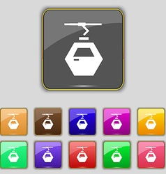 Cableway cabin icon sign Set with eleven colored vector