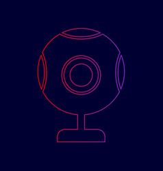 chat web camera sign line icon with vector image
