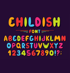 children font in cartoon style colorful bubble vector image