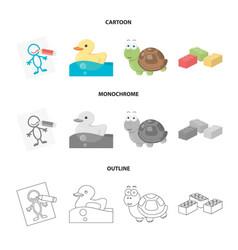 Children s toy cartoonoutlinemonochrome icons in vector