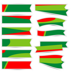 christmas ribbon with shadow on white background vector image