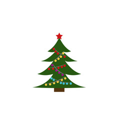 christmas tree color icon element of christmas vector image