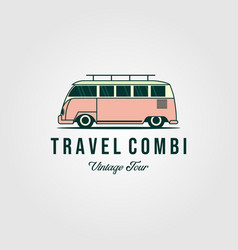 Combi van car vintage logo design vector