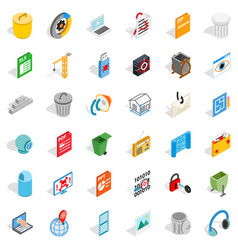 computer icons set isometric style vector image