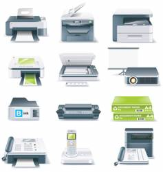Computer parts icon set vector