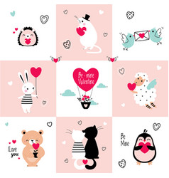cute animals in love holding hearts celebrating vector image