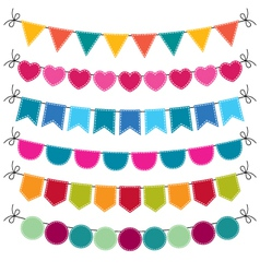 Cute bunting set vector