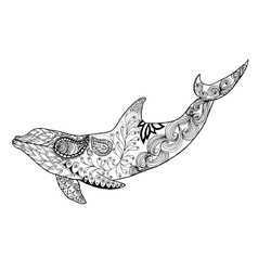 Cute dolphin Adult antistress coloring page vector image