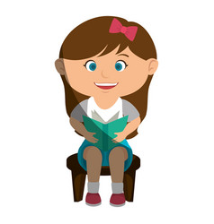 cute little girl reading character vector image