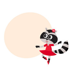 Cute raccoon character ballet dancer in pointed vector
