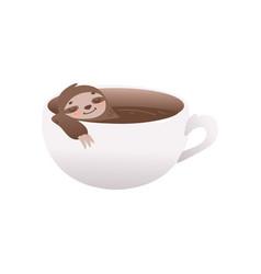 Cute sloth relaxing in cup of coffee - big mug vector