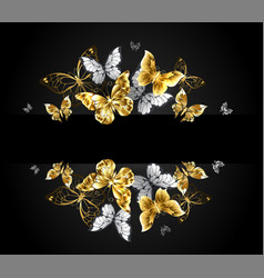 design with gold and white butterflies vector image