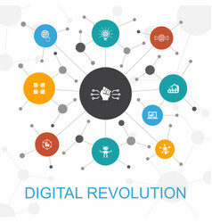 Digital revolution trendy web concept with icons vector