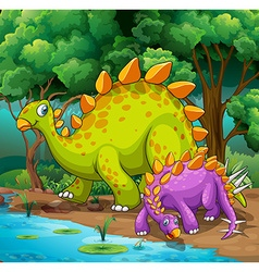 dinosaurs living in jungle vector image