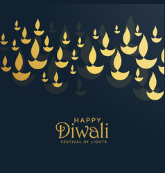 Diwali greeting card design with floating golden vector