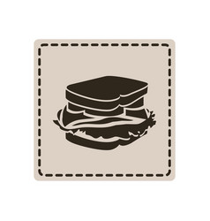 emblem sticker sandwich icon vector image