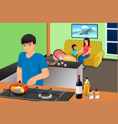 father cooking while mother and kids in the vector image