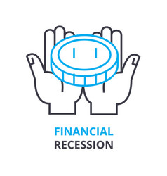 financial recession concept outline icon linear vector image