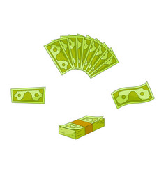 flat cash money pile stack set vector image