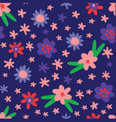 flat colour flowers seamless pattern vector image