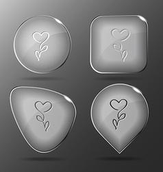 Flower-heart glass buttons vector