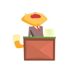 Funny businessman fox in a suit yawning while vector