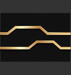 gold line polygon banner dark grey hexagon mesh vector image