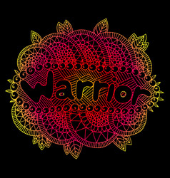 Graphic art with mandala and warrior gradient vector