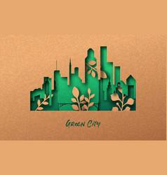 green city 3d eco papercut nature concept vector image