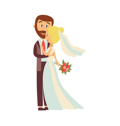 groom and bride hug each other isolated vector image